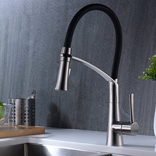 CREA Modern Kitchen Faucet, Stainless Steel Single Lever Pull Down ...